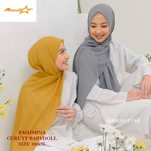 Foto Produk Pashmina Ceruty Babydoll / Kerudung Pashmina / Jilbab Pashmina ceruti - Army dari Amirah Star