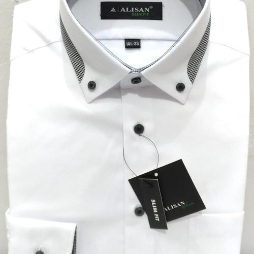 Foto Produk Kemeja Putih Pria Alisan Panjang Slimfit Dobby Kerah Abu Milenial - S dari Mega Hero Shirts