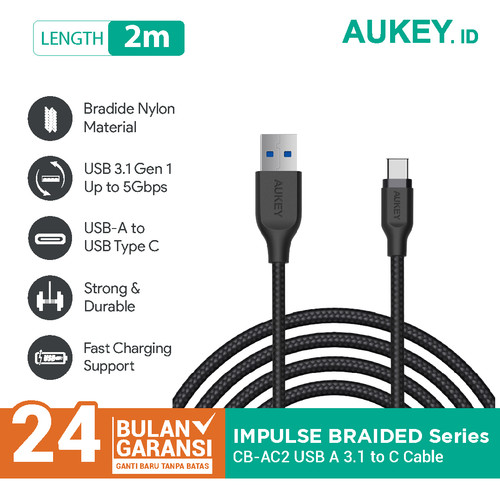 Foto Produk Aukey Cable 2M USB 3.1 gen 1 to USB C Braided Nylon Black - 500281 dari Aukey Surabaya