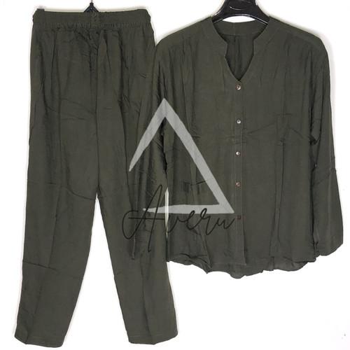 Foto Produk Baju Tidur Wanita Piyama Setelan Rayon PP Tangan Panjang - Polos - Seaweed Green dari Averu