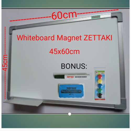Foto Produk Papan tulis magnet whiteboard gantung single face ZETTAKI 45x60cm dari Zetboard