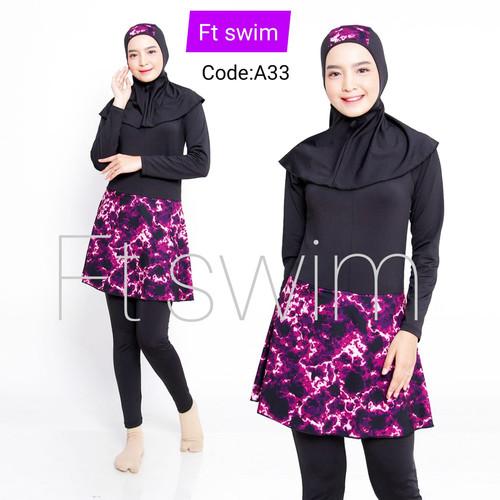 Foto Produk Baju renang cewek muslimah dewasa/pakaian renang remaja muslim - A33, M dari Lancar Abadi store88