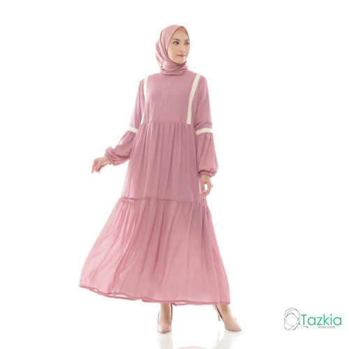 Foto Produk Dress Muslim Wanita | Gamis Nadira Pink | S M L XL | Tazkia Hijab - M dari Tazkia Hijab Store