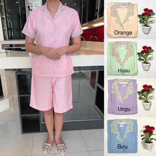 Foto Produk Baju seragam suster (kulot)/ baju baby sitter/ nanny (motif bunga) - Orange, S dari KidsGallery