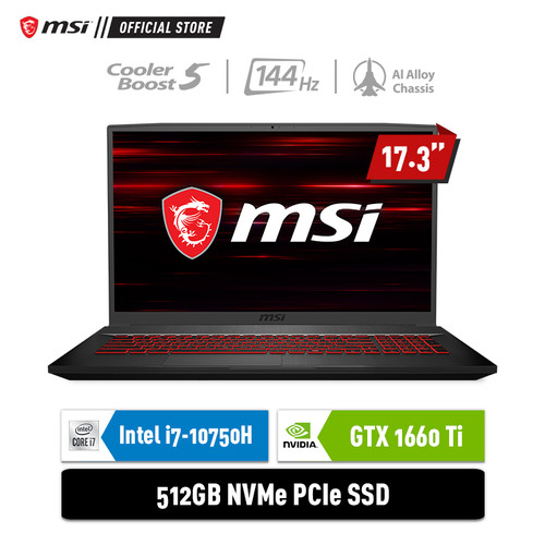 Foto Produk MSI GF75 10SDR [9S7-17F312-608] i7-10750H 8GB 512GB GTX1660Ti 6GB dari MSI Official Store