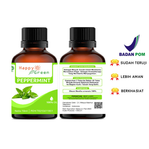 Foto Produk Peppermint Essential Oil 10 mL - Minyak Mint 100% ASLI dari Happy Green Garden - JKT