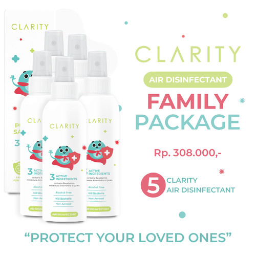 Foto Produk 5 pcs CLARITY Air Disinfectant Spray Non Alkohol aman utuk bayi & anak dari Clarity Air Disinfectant Offical
