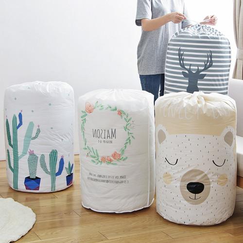 Foto Produk WNG Keranjang Baju Kotor Lipat Pakaian Cucian Laundry Bag Tutup Serut - Bunga dari MitraBotol