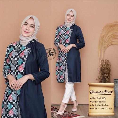 Foto Produk Baju Wanita Kombinasi Batik Lengan Panjang - Navy, M dari SANTY-COLLECTION