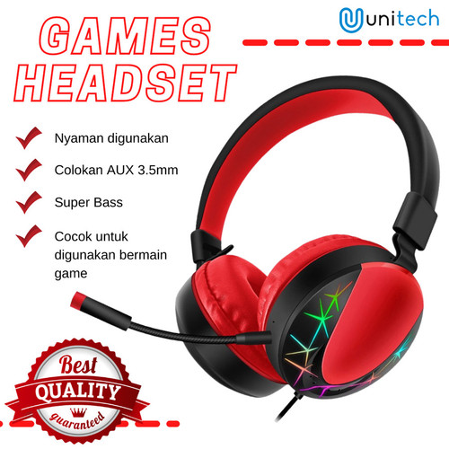 Foto Produk Unitech Headphone headset gaming AKZ-201 3D Stereo Surround Super Bass - Hitam dari TokoUsbcom