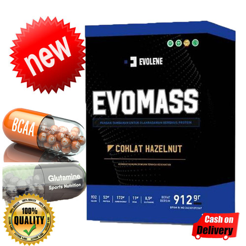 Foto Produk Evolene EvoMass 912 gram 2lbs Gain Mass Gainer Untuk Bulking - Hazelnut coklat dari Evolene Evo Mass