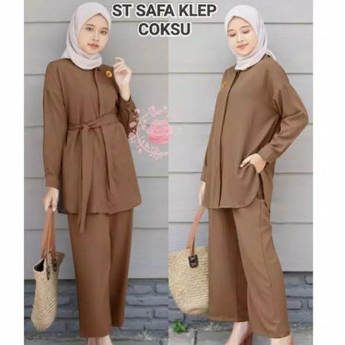 Foto Produk setelan muslim tunik baju polos celana kulot panjang wanita blouse dari boutique preloved