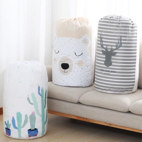 Foto Produk WNG Keranjang Baju Kotor Lipat Pakaian Cucian Laundry Bag Tutup Serut - Panda dari MitraBotol