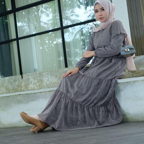 Foto Produk [REAL PICTURE] MARIZHA DRESS BROCADE SATIN BRUKAT TANAH ABANG PGMTA - GREY dari FaVia Shop