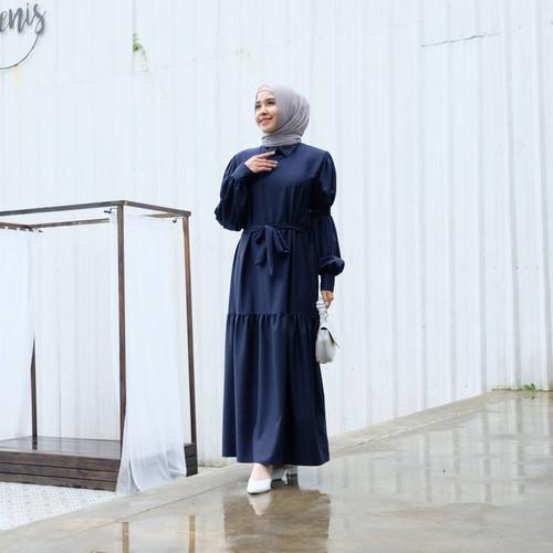 Foto Produk [REAL PICTURE] APURVA DRESS HAZELNUT IMPORT TANAH ABANG PGMTA METRO - NAVY dari FaVia Shop
