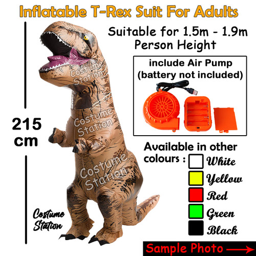 Foto Produk Kostum Dinosaurus T-rex Dewasa / Costume Trex angin - Cokelat dari Costume Station