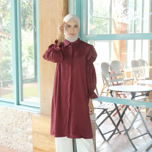 Foto Produk [REAL PICTURE] RHONA TUNIK HAZELNUT IMPORT TANAH ABANG PGMTA METRO - MAROON dari FaVia Shop