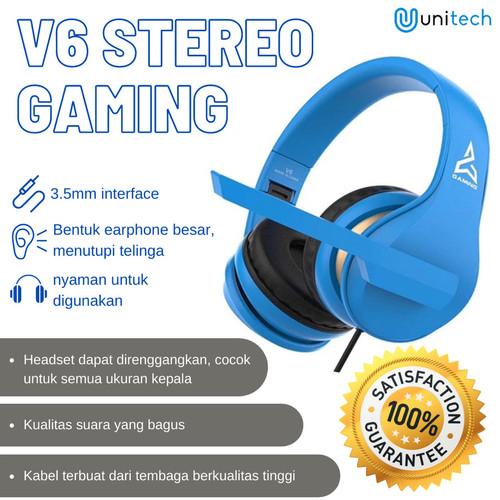 Foto Produk Unitech Headset Headphone Gaming V6 Stereo with Microphone - Hitam - Hitam dari TokoUsbcom