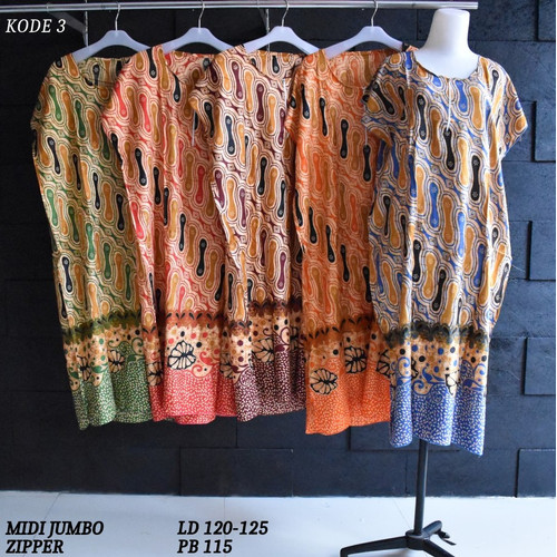 Foto Produk Grosir Daster Midi Jumbo Rayon Busui Zipper Murah Baju Tidur Kode 3 dari Rumah Batik Pekalongan 2