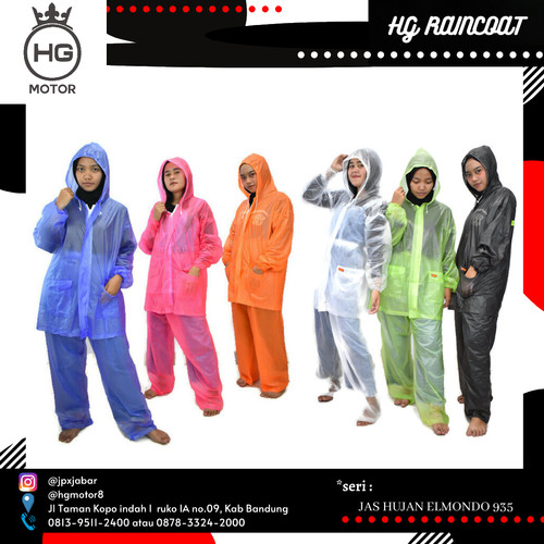 Foto Produk Jas Hujan Setelan Elmondo 935 Ceria - Jas Ujan Jaket Celana Murah - Merah Muda dari HG MOTOR