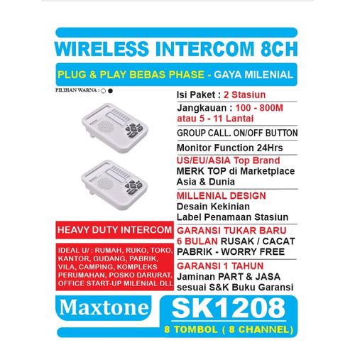 Foto Produk Wireless Intercom Interkom 8CH Office Home - MAXTONE SK1208 - 2 Unit - Putih dari EtalaseBelanja