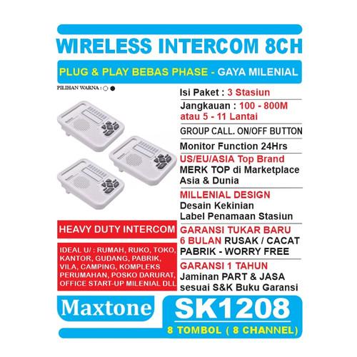 Foto Produk Interkom Wireless Intercom 8CH Office Home - MAXTONE SK1208 - 3 Unit - Putih dari EtalaseBelanja