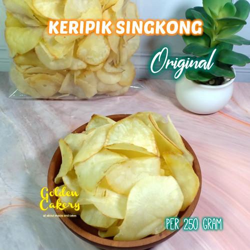 Foto Produk KERIPIK/KRIPIK SINGKONG ORIGINAL GURIH ASIN (250 GR) TERLARIS/EKONOMIS dari Golden Cakery