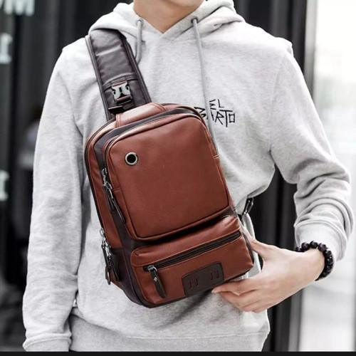 Foto Produk Tas Selempang Slempang Pria Kulit Premium/Sling Bag import IPAD - Cokelat dari variannet