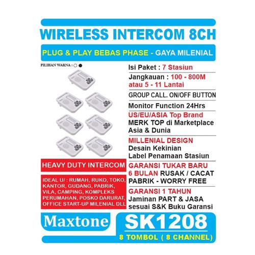 Foto Produk Wireless Intercom Interkom 8CH Home/Office Use - 7 Unit MAXTONE SK1208 - Putih dari EtalaseBelanja