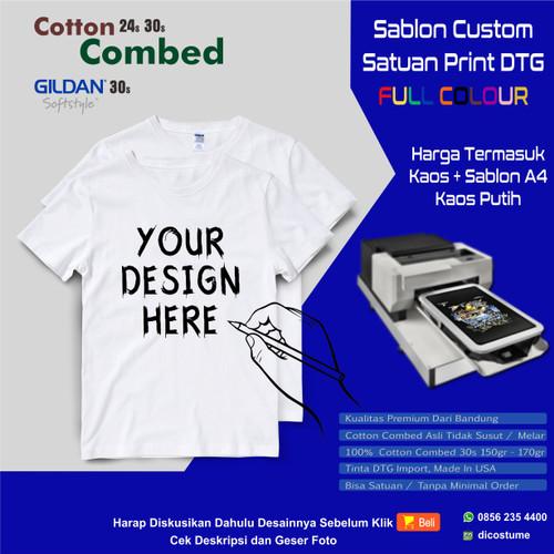 Foto Produk Kaos Satuan Sablon Print DTG Desain Sendiri A4 - 1sisi A4, combed 30s dari Dicostume