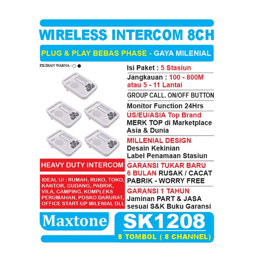 Foto Produk Wireless Intercom Interkom 8CH Office/Home Use - 5 Unit MAXTONE SK1208 - Putih dari EtalaseBelanja