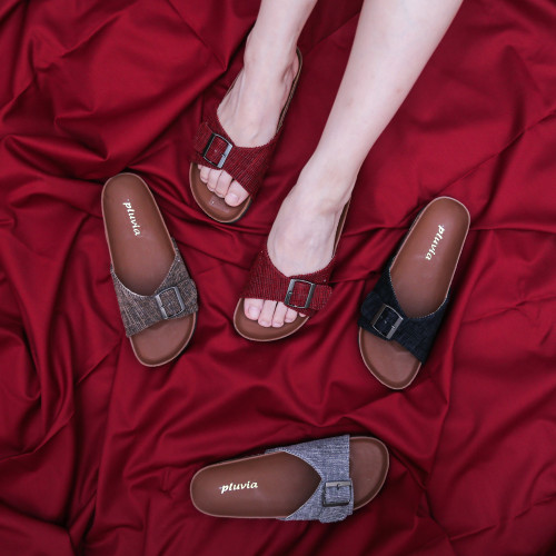 Foto Produk Pluvia - LUNA Sandal Flat Wanita Footbed - Maroon, 37 dari Pluvia Shoes