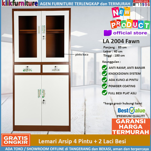 Foto Produk Lemari Arsip Filing Cabinet Besi 4 Pintu 2 Laci FC 2004 Coklat dari klikfurniture