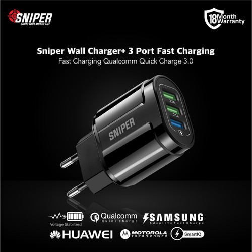 Foto Produk Sniper Wall Charger+ 3 Port Fast Charging Qualcomm QC 3.0 dari Sniper Indonesia