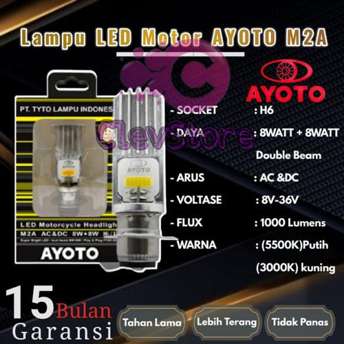 Foto Produk Lampu LED Motor AYOTO M2A H6 AC & DC Motor Matic / Bebek - Putih dari Clevstore