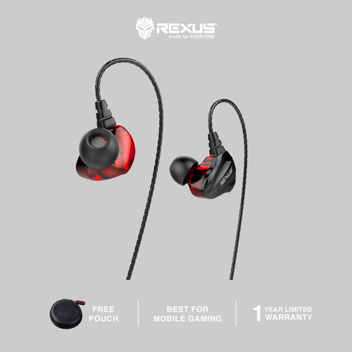 Foto Produk [Exclusive Tokopedia] Rexus Earphone Gaming EZ2 With Mic - Merah dari Rexus Official Store