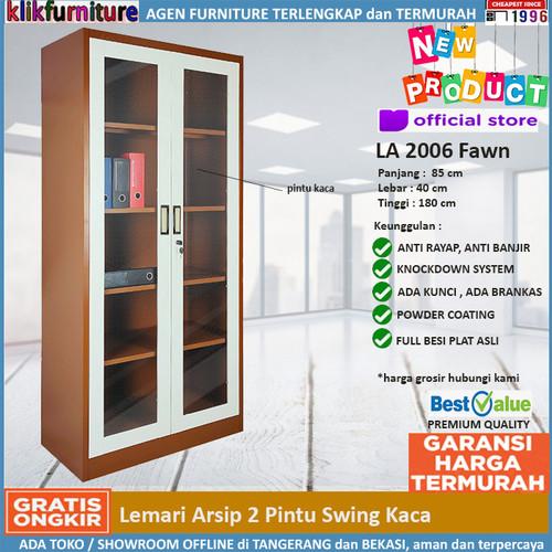 Foto Produk Lemari Arsip Filing Cabinet Besi Pintu Kaca FC 2006 Coklat dari klikfurniture