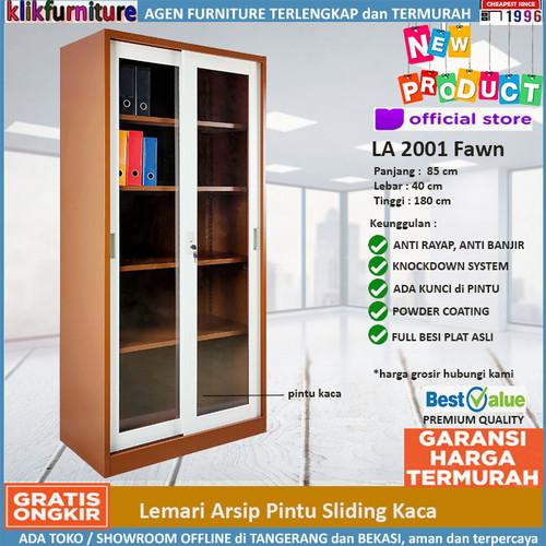 Foto Produk Lemari Arsip Besi 2 Pintu Sliding Kaca SAPPORO FULDA Coklat dari klikfurniture