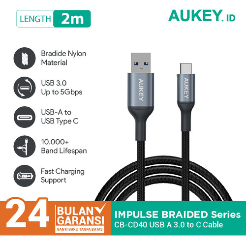 Foto Produk Aukey Cable CB-CD40 2m Braided Nylon USB 3.0 to Type C Grey - 500427 dari Aukey Tangerang