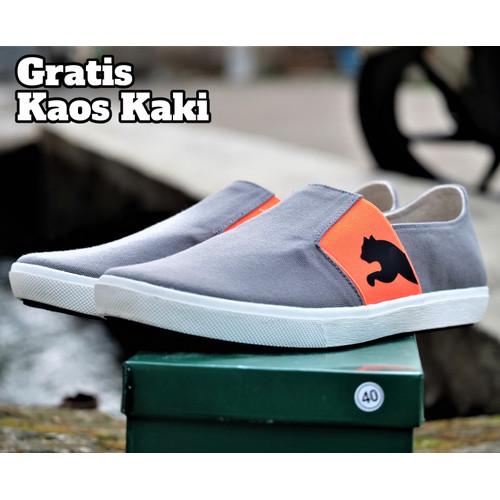 Foto Produk sepatu slop pria puma lazy slip on gray orange santai - Merah, 39 dari sepatuboot