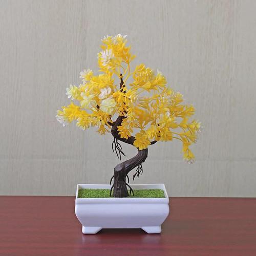 Foto Produk ✧YUKSHOPING✧Ornamen Tanaman Bonsai Flower Pot Vas Bunga plastik - PIRAMID, Kuning dari yukshoping4