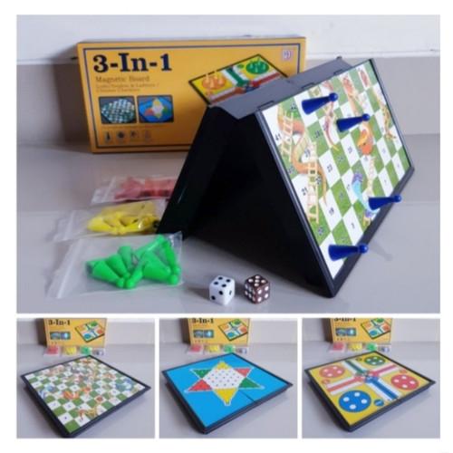 Foto Produk MAINAN GAME LUDO HALMA ULAR TANGGA/MAGNETIC BOARD GAME 3 in 1 MURAH dari ASER TOYS