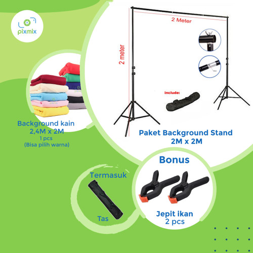 Foto Produk Background stand 2 x 2 meter | paket dengan background kain 2 x 2,4 m dari pixmix