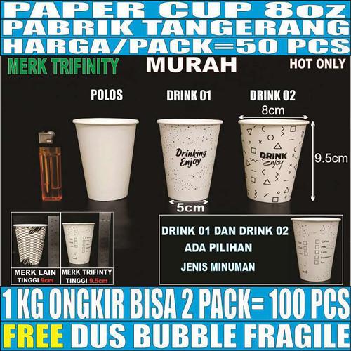 Foto Produk Paper cup 8oz 50pcs Gelas Kertas Kopi Murah Tipis Tahan Panas 240ml - Motif random dari Triguna Jaya Sentosa Trifinity