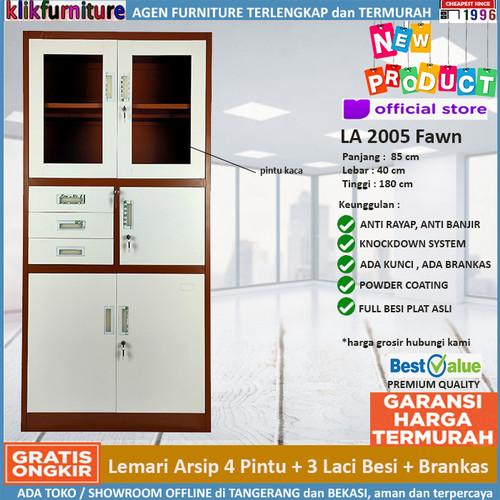 Foto Produk Lemari Arsip Filing Cabinet Besi dengan Brankas FC 2005 Coklat dari klikfurniture