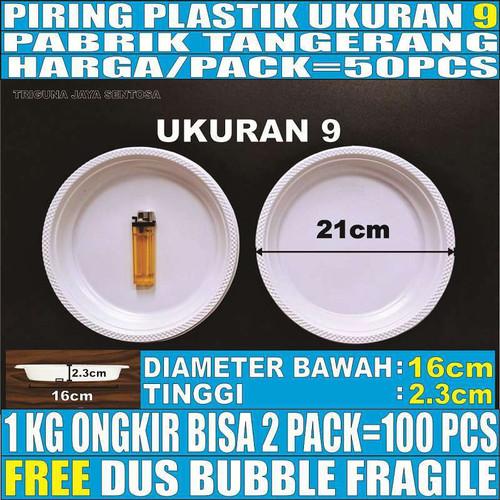 Foto Produk Piring makan plastik 50pcs uk 9 Besar L pesta nasi lauk murah P9 dari Triguna Jaya Sentosa Trifinity