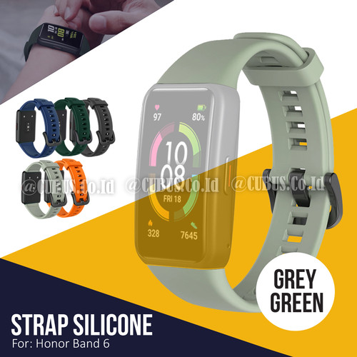 Foto Produk Silicone Strap / Tali Jam Tangan / Rubber Strap for Honor Band 6 - Grey Green dari Cubus_Co_ID