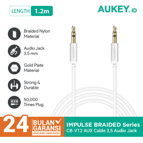 Foto Produk Aukey Cable 1.2M AUX Audio Gold Plate Braided Nylon - 500168 dari AUKEY