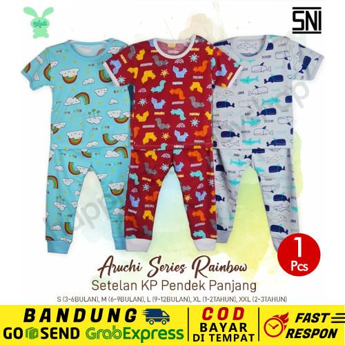 Foto Produk SML -1 Pc Stelan Oblong Pendek Panjang Aruchi Baju Piyama Bayi RAINBOW - S, Merah dari Happiness_Babyshop