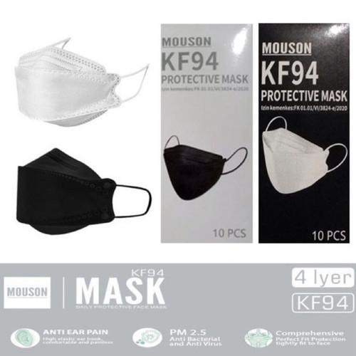 Foto Produk Masker KF94 Mouson 4PLY Mask KF 94 / Masker Korea 4PLY KN95 N95 - Hitam dari flashop23
